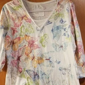 Coldwater Creek L Butterfly Print Top